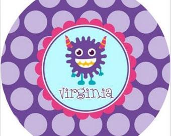 """Personalized 10"""" Melamine Plate--Monster Girl"""