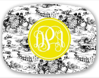 Personalized Melamine Platter--Toile with Custom Colors and Monogram