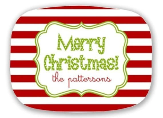 Personalized Melamine Platter--Merry Christmas Stripe with Custom Name