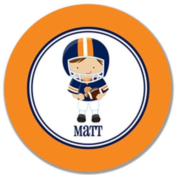 "Personalized 10"" Melamine Plate-Auburn Football Player"