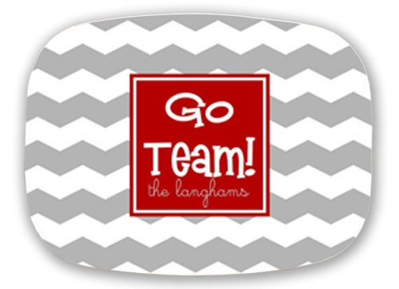 Personalized Melamine Platter--Custom Team Platter (custom colors and slogan)