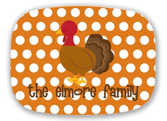 Personalized Melamine Platter or Tray--Thanksgiving Turkey