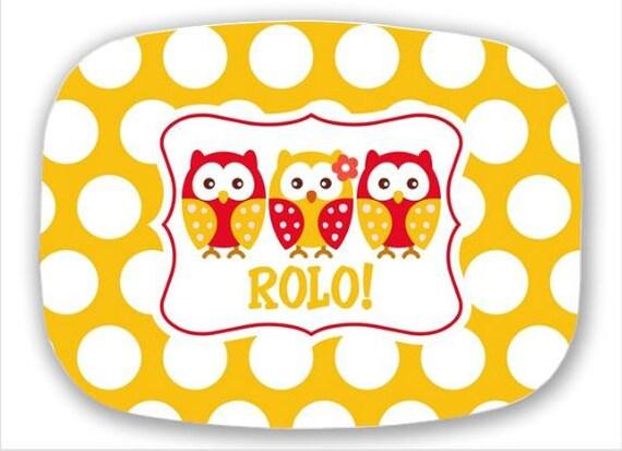 Sorority Quatrefoil Platter--Little Owl