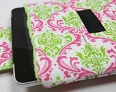 iPad Case/ iPad 2 Sleeve/ iPad Cover/Laptop Sleeve/ Samsung Galaxy/ HP Touchpad/ TABLET/ PADDED - Chartreuse Damask with Minky and Pocket