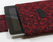 iPad Case - iPad 2 Sleeve - iPad Cover - Samsung Galaxy - HP Touchpad - TABLET/ PADDED - Red Swirly Spade with Minky and Pocket