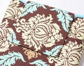 Kindle Case / Kindle Sleeve/ Nook Cover / E-Reader Cover- Damask in Bark with minky and pocket