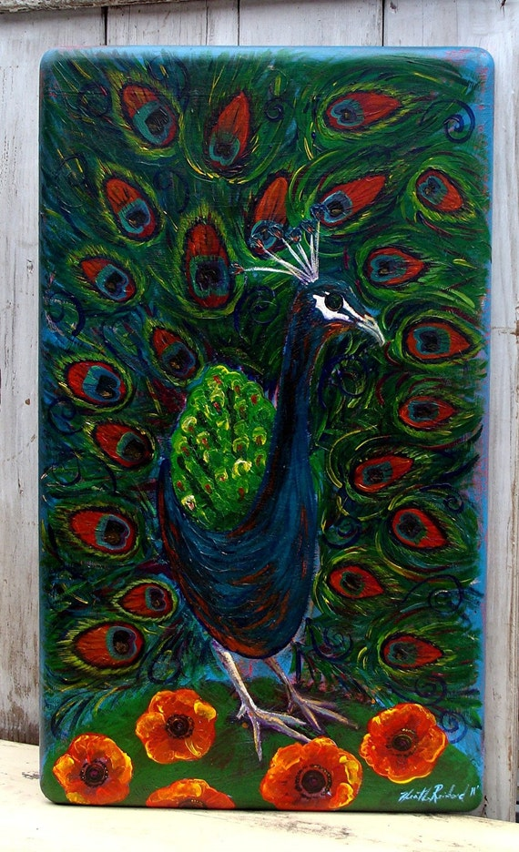 Original Folk-Art Painting- Peacock on Poppy Hill