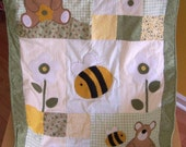 Cute baby quilt  blanket. The bears and the bees...