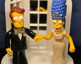 Marge and Homer Simpson wedding cake topper
