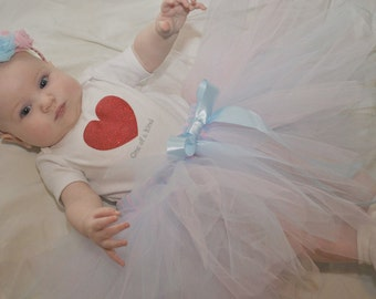 Beautiful light blue and pink tutu for baby or toddler - NB-24 months - Light blue and pink tulle