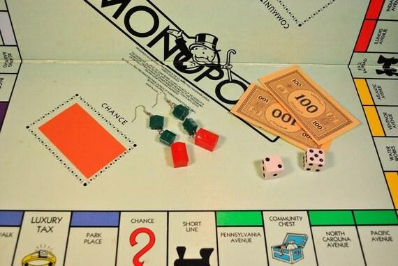 Monopoly inspired drop-down earrings