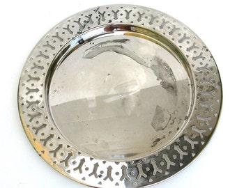 distressed vintage silver plate  ...  cottage chic  ...   charger