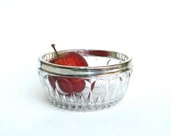 vintage crystal and silver bowl