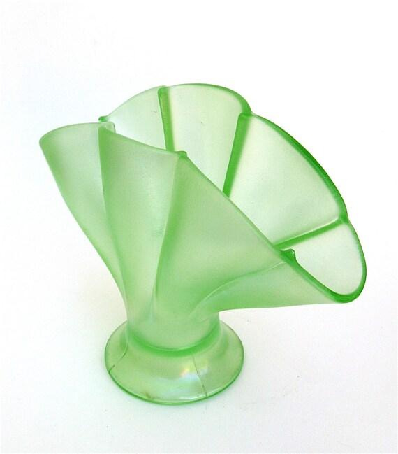 flowers anyone    .....    vintage depression glass fan vase