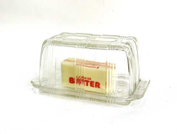 please pass me the butter   ...    vintage depression glass lidded butter dish