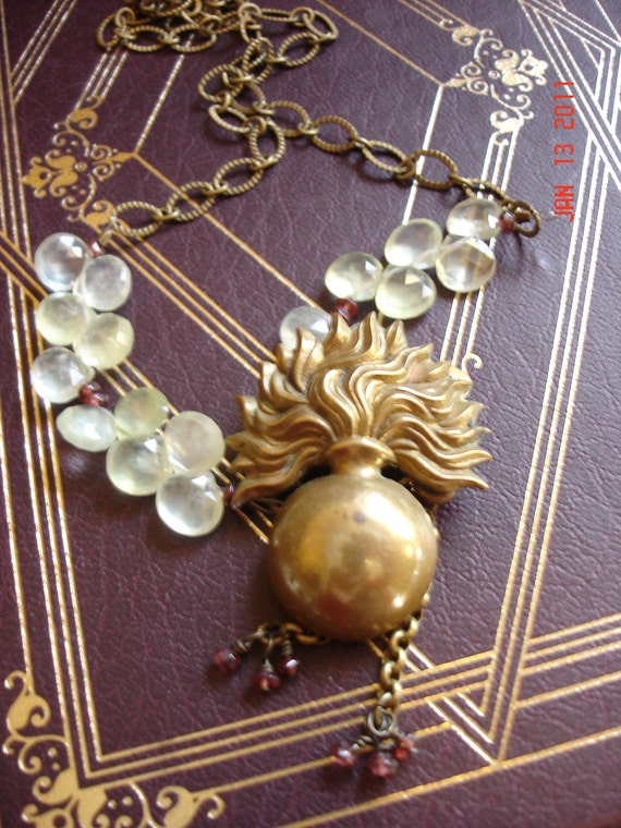 The Flame--Vintage Flame-In-A-Vase Patinaed Brass Piece Necklace With Prehnite Briolettes& Garnets