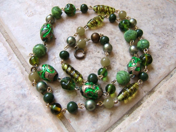 Envy Green Venetian and/or Czech Glass Bead Necklace
