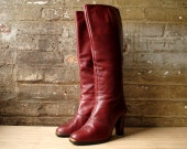 Etienne Aigner Leather Boots Oxblood Size 7.5