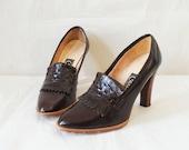 Vintage Platform Wood Heels Size 8.5 Dark Brown Leather Fringe
