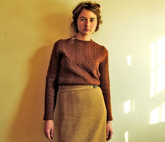 Vintage Wool Pencil Skirt in Bronze Herringbone