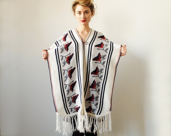 Vintage Bird Poncho Navy Blue and Rust Wool Knit