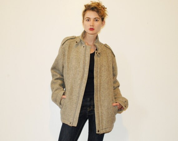 Vintage Grey Wool Coat  Motorcycle Style Size Large