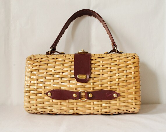 Vintage Straw Handbag Rectangle 1960s Handbag Basket