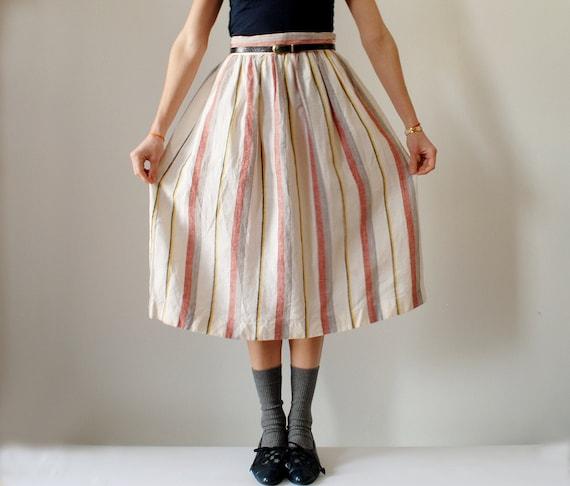 Vintage Striped Linen Skirt Size Small High Waist A Line