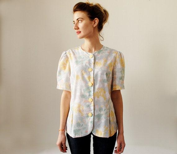 Vintage Floral Blouse Short Sleeve Spring Top Medium