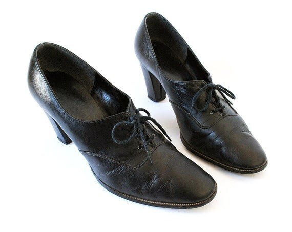 Vintage Black Oxford Platform Heels Size 8.5 Leather