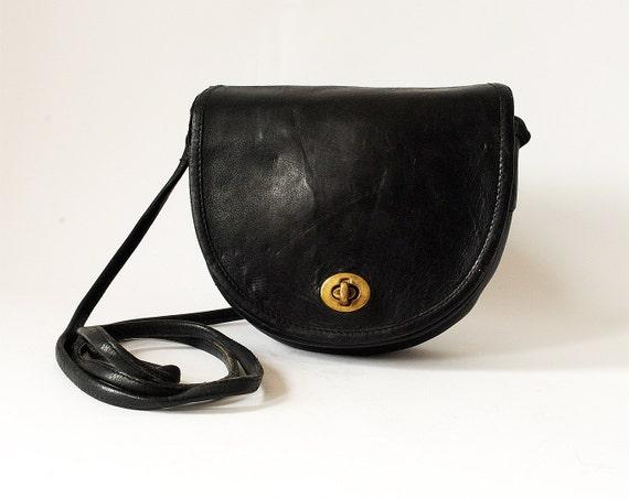 Vintage Black Leather Coach Bag Small Cross Body Purse