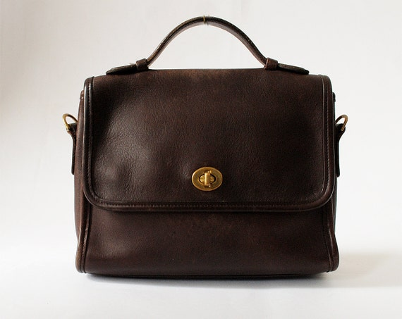Vintage Coach Handbag Dark Brown Leather Purse
