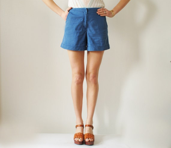 Vintage High Waist Short Shorts in Blue Cotton Small