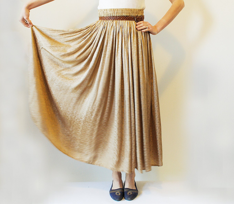 vintage gold maxi skirt size medium large flowing skirt