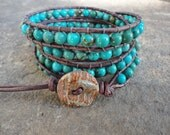 Earthy Turquoise Beaded Leather Wrap Bracelet ALE 20% off coupon code SALE20