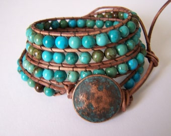 Apache Turquoise Beaded Leather Wrap Bracelet