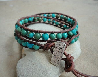 Choctaw Turquoise Beaded Leather Wrap Bracelet