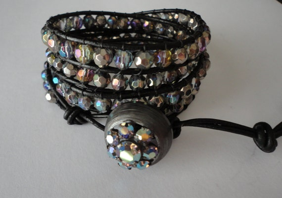 All That Sparkles Crystal Beaded Leather Wrap Bracelet