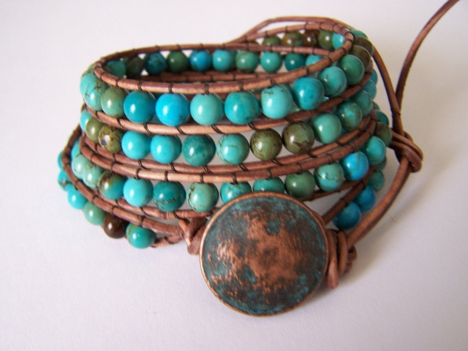 sale 60 apache turquoise beaded leather wrap bracelet