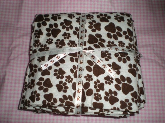 Brown Paw Prints Flannel Pillow Case Set for Std Size Bed Pillows
