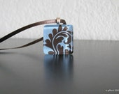 Blue and Chocolate Damask Glass Tile Pendant and satin ribbon chain Lovely Christmas gift for sister, mom, friend, babysitter, bridesmaid, or you