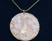 White Moonstone and Quartz Rock Crystal Disc Necklace