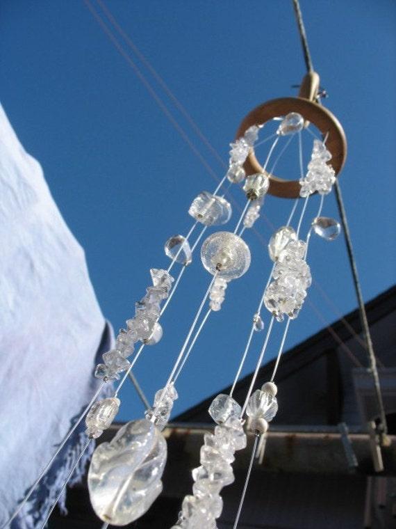 Seven Strand Clear Crystal and Glass Suncatcher \/ Sun catcher