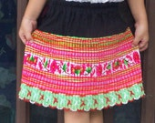Vintage ethnic original Hmong Patchwork Stitched Fabric, girls children Skirt