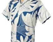 Vintage 60s Loop Shirt Mens Blue & White Aloha Hawaiian Cotton Rockabilly S