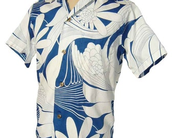 Vintage 60s Loop Shirt Mens Blue & White Aloha Hawaiian Cotton Rockabilly S