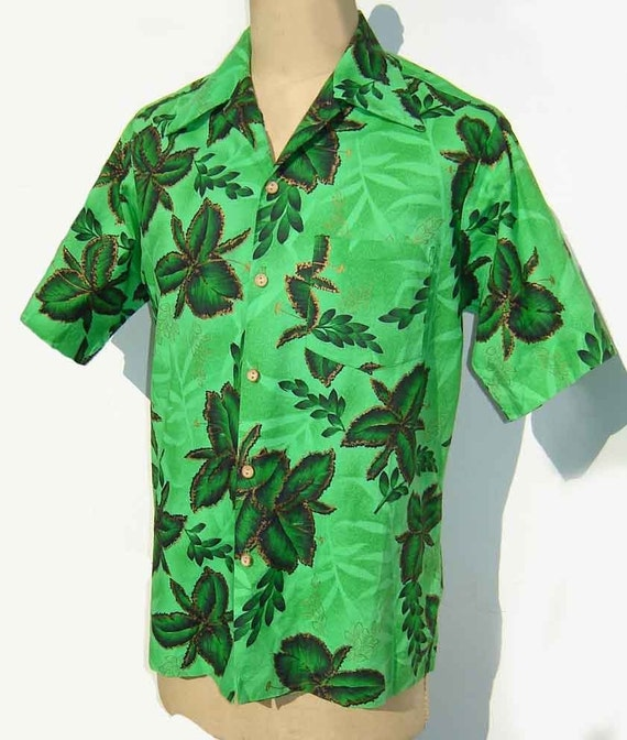 Vintage 60s Aloha Shirt Mens Hawaiian Green Cotton Surf L - Dael's Casuals