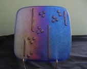 Square Fused Glass Plate in Iridescent Colors of Blue, Purple and Tan