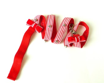 Red and White Stripes - Dog Leash -  Hand Made - 48 Inches - Festive - Bows - Bells - Christmas Gift - UNIQUE