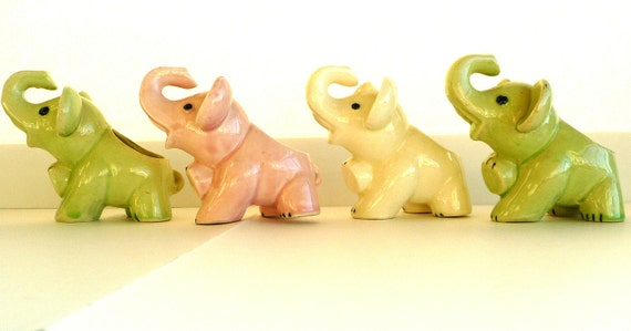 elephant, planter, 1950s, ceramic, four, green, white, pink, occupied Japan, cottage, republican, whimsical
